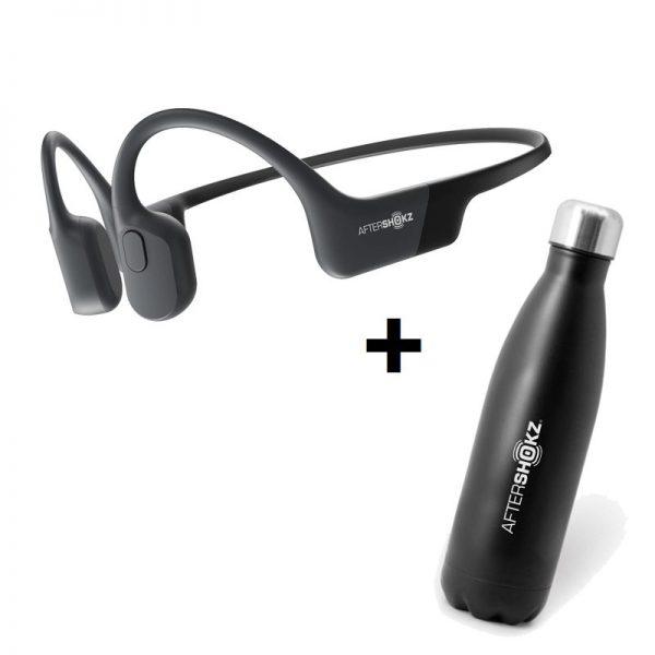 AfterShokz - Aeropex Black & Aftershokz - Stainless Steel Vacuum Water Bottle Capacity 500ml - Bundle